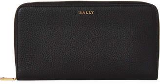 Bally Black Large Leather Zip-Around Wallet