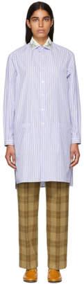 Gucci Blue Striped Sequin Collar Shirt