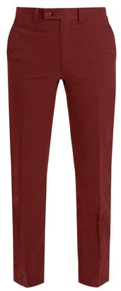 Brioni Slim Fit Cotton Chino Trousers - Mens - Burgundy