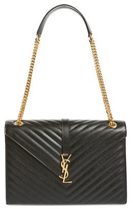 Saint Laurent 'Large Monogram' Grained Leather Shoulder Bag - Black $2,590 thestylecure.com