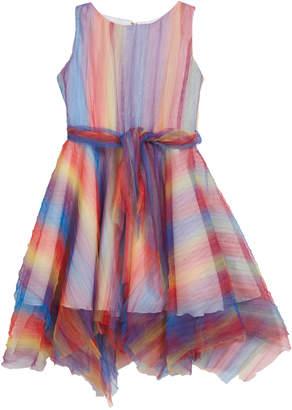 Zoe Summer Pleated Rainbow Mesh Handkerchief Dress Size 4-6X