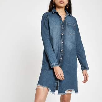 6670b599c58 River Island Womens Mid Blue ripped denim shirt dress