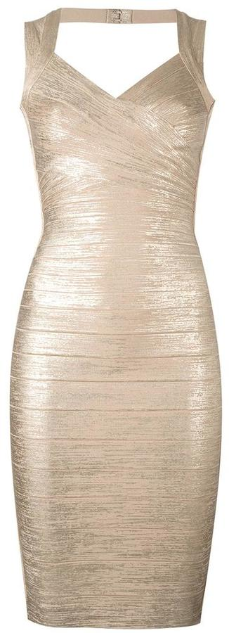 Herve Leger metallic fitted dress