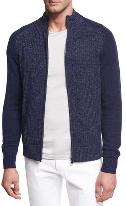 Loro Piana Donegal Cashmere Zip-Front Cardigan $2,095 thestylecure.com