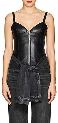 Area Women's Leather Bustier Top - Black