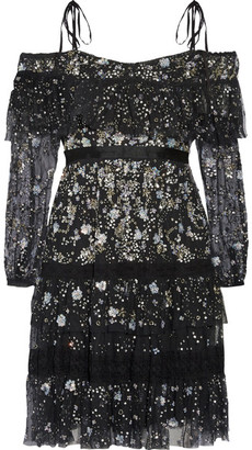 Needle & Thread - Supernova Off-the-shoulder Ruffled Embellished Tulle Mini Dress - Black $700 thestylecure.com