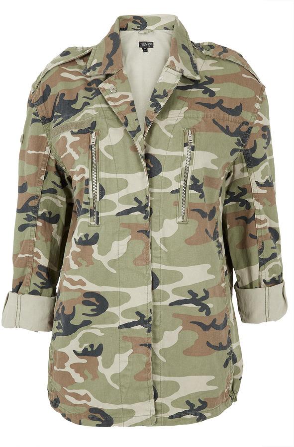 Topshop Camouflage Side Pocket Army Jacket