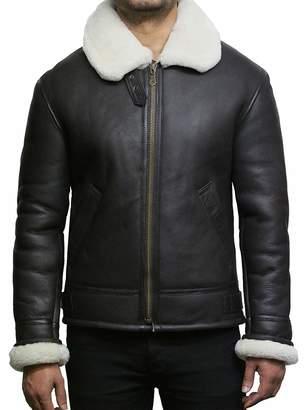 Brandslock Mens Aviator Shearling Sheepskin Leather Flying Jacket