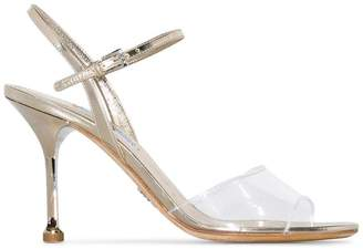 Prada metallic gold 90 strappy leather sandals