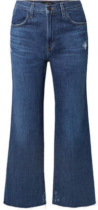 J Brand Joan Cropped Distressed High-rise Flared Jeans - Mid denim