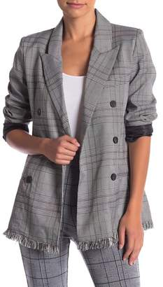 Romeo & Juliet Couture Fray Hem Plaid Blazer