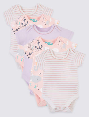 Marks and Spencer 5 Pack Organic Cotton Bodysuits