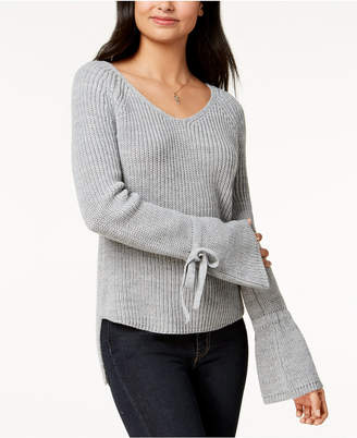 American Rag Juniors' Tie-Trim Bell-Sleeved High-Low Sweater, Created for Macy's