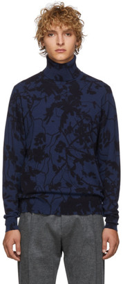 Etro Black and Blue Stampa Turtleneck