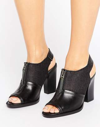 G Star G-Star Lynn Black Leather Heeled Sandals