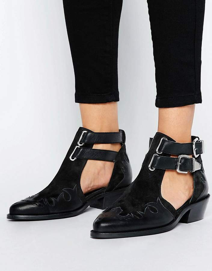 AsosASOS ARROW Leather Western Cut Out Boots
