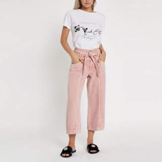 River Island Petite pink belted denim culottes