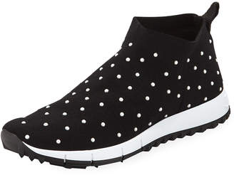 Jimmy Choo Norway Slip-On Sneakers with Faux-Pearl Beads