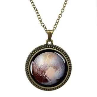 By Zoé Precious Stone Pluto Charm Dwarf Planet Pluto Space Probe Design Silver Necklace for Valentine's Day STORE
