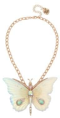 Betsey Johnson Flower Crystal Large Butterfly Pendant Necklace