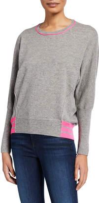 Design History Cashmere Dolman Sleeve Neon Trim Tunic