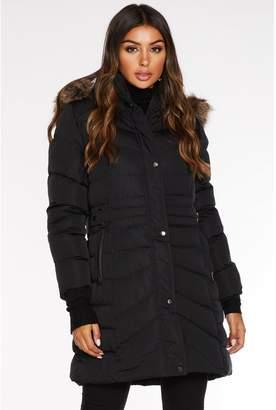 Quiz Black Long Padded Faux Fur Hood Jacket