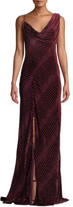 Roberto Cavalli Sleeveless Velvet Cowl Neck Gown