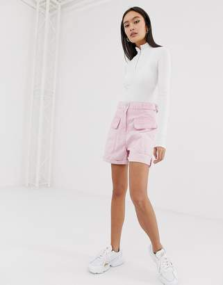 Asos Design DESIGN utility short in acid wash pink