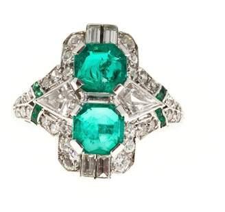 Vintage Antique Art Deco Platinum with 1.20ct Asscher Emerald & Diamond Ring Size 5