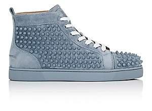 Christian Louboutin Men's Louis Flat Suede Sneakers-Gray