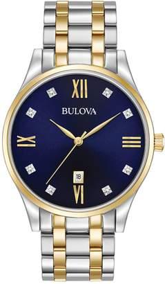 Bulova Analog Diamond Stainless Steel Bracelet Watch