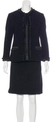 Alberta Ferretti Velvet Tweed Skirt Suit