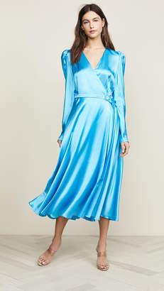Anna October Long Sleeve V Neck Satin Dress
