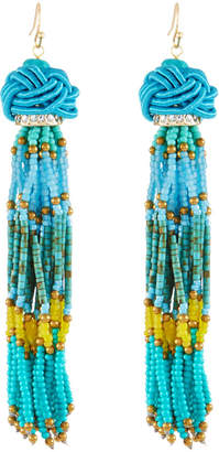 Panacea Seed Bead Tassel Earrings, Turquoise
