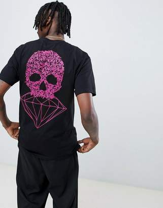 Diamond Supply Co. Fasten T-Shirt With Skull Back Print In Black