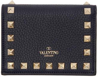 Valentino Navy Garavani Small Rockstud Wallet