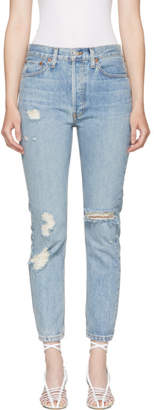 RE/DONE Blue Originals High-Rise Straight Destroy Jeans