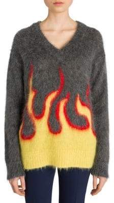 Prada Brushed Mohair Flame Knit Sweater
