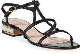 Nicholas Kirkwood Casati Sandals with Pearly Heel, Black