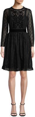 Nanette Lepore Nanette Velvet Appliqué Lace Fit-and-Flare Dress