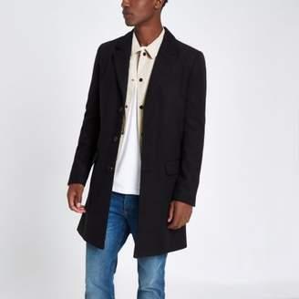 River Island Mens Black smart overcoat