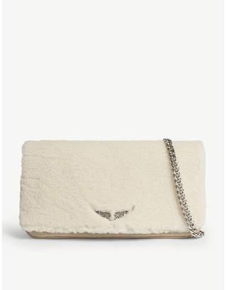 Zadig & Voltaire Rock shearling clutch bag