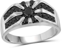 Black Diamond JewelersClub 1.00 CTW Round cut Wedding Sterling Silver Men's Ring