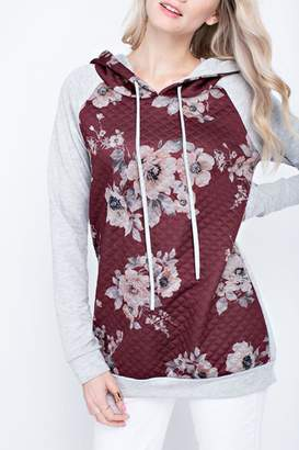 Ami 12pm by Mon Quilted Floral Hoodie