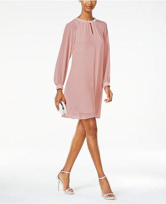 SL Fashions Imitation Pearl Keyhole Shift Dress $99 thestylecure.com