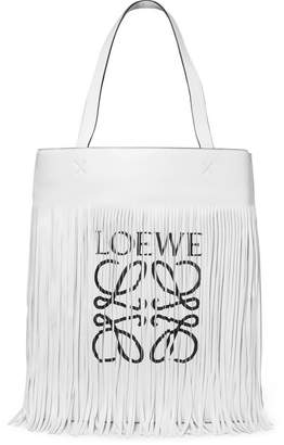 Loewe Fringed Printed Leather Tote - White