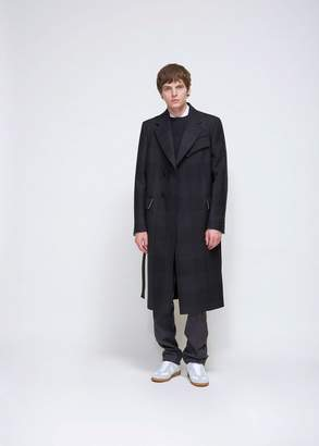 Calvin Klein Double Face Check Wool Overcoat