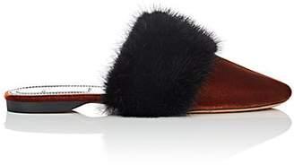 Givenchy Women's Fur-Trimmed Velvet Mules - Black