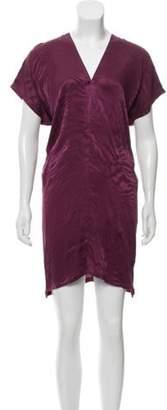 Maison Margiela Short Sleeve V-Neck Dress Purple Short Sleeve V-Neck Dress