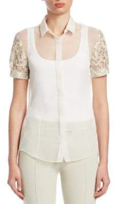 Akris Punto Embroidered Silk Puff-Sleeve Top